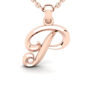 P Swirly Initial Necklace In Heavy Rose Gold With Free 18 Inch Cable Chain