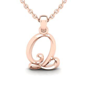 Letter Q Swirly Initial Necklace In Heavy Rose Gold With Free 18 Inch Cable Chain