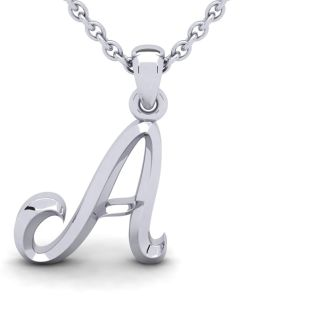 Letter A Swirly Initial Necklace In Heavy 14K White Gold With Free 18 Inch Cable Chain