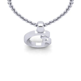 Letter C Swirly Initial Necklace In Heavy 14K White Gold With Free 18 Inch Cable Chain