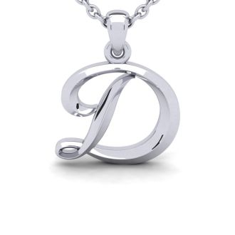 Letter D Swirly Initial Necklace In Heavy 14K White Gold With Free 18 Inch Cable Chain