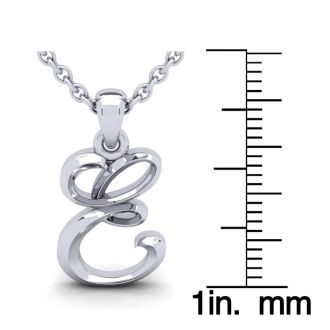 E Swirly Initial Necklace In Heavy 14K White Gold With Free 18 Inch Cable Chain