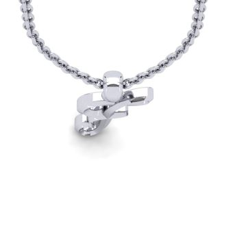 Letter F Swirly Initial Necklace In Heavy 14K White Gold With Free 18 Inch Cable Chain