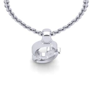 G Swirly Initial Necklace In Heavy 14K White Gold With Free 18 Inch Cable Chain