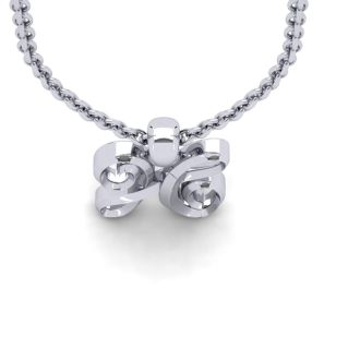 H Swirly Initial Necklace In Heavy 14K White Gold With Free 18 Inch Cable Chain