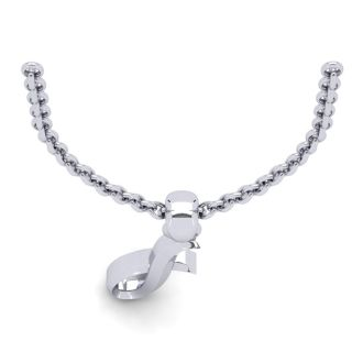 I Swirly Initial Necklace In Heavy 14K White Gold With Free 18 Inch Cable Chain
