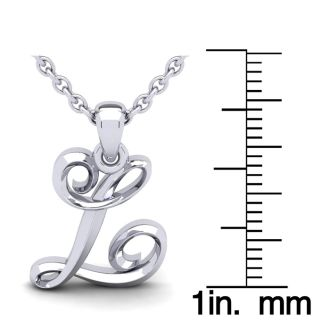 L Swirly Initial Necklace In Heavy 14K White Gold With Free 18 Inch Cable Chain