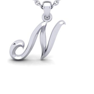 N Swirly Initial Necklace In Heavy 14K White Gold With Free 18 Inch Cable Chain