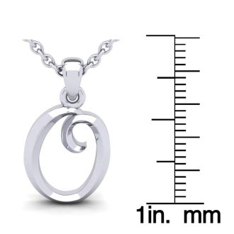 O Swirly Initial Necklace In Heavy 14K White Gold With Free 18 Inch Cable Chain