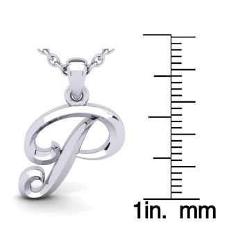 Letter P Swirly Initial Necklace In Heavy 14K White Gold With Free 18 Inch Cable Chain