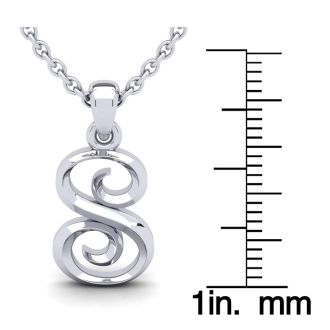 S Swirly Initial Necklace In Heavy 14K White Gold With Free 18 Inch Cable Chain