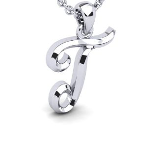 Letter T Swirly Initial Necklace In Heavy 14K White Gold With Free 18 Inch Cable Chain
