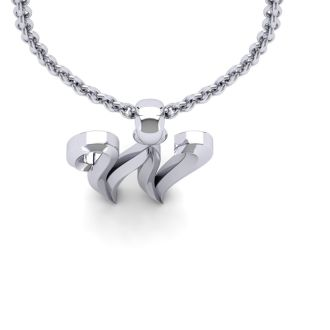 Letter W Swirly Initial Necklace In Heavy 14K White Gold With Free 18 Inch Cable Chain