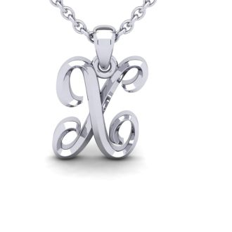 Letter X Swirly Initial Necklace In Heavy 14K White Gold With Free 18 Inch Cable Chain