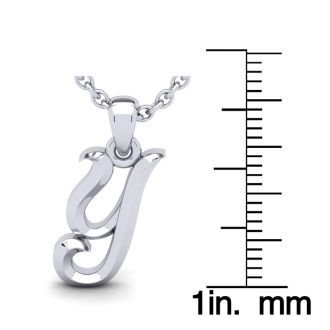 Y Swirly Initial Necklace In Heavy 14K White Gold With Free 18 Inch Cable Chain