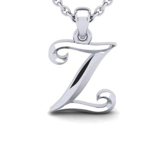 Letter Z Swirly Initial Necklace In Heavy 14K White Gold With Free 18 Inch Cable Chain
