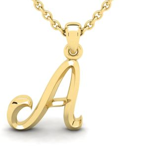 Letter A Swirly Initial Necklace In Heavy 14K Yellow Gold With Free 18 Inch Cable Chain