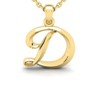 Letter D Swirly Initial Necklace In Heavy 14K Yellow Gold With Free 18 Inch Cable Chain