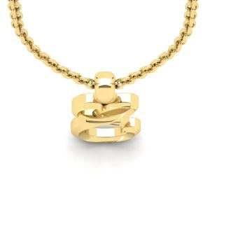 E Swirly Initial Necklace In Heavy 14K Yellow Gold With Free 18 Inch Cable Chain