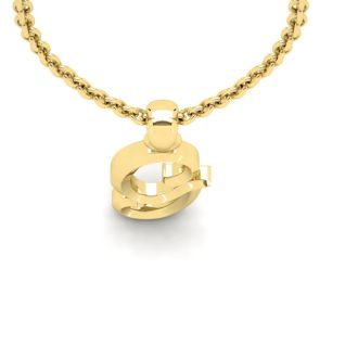 G Swirly Initial Necklace In Heavy 14K Yellow Gold With Free 18 Inch Cable Chain