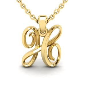 Letter H Swirly Initial Necklace In Heavy 14K Yellow Gold With Free 18 Inch Cable Chain