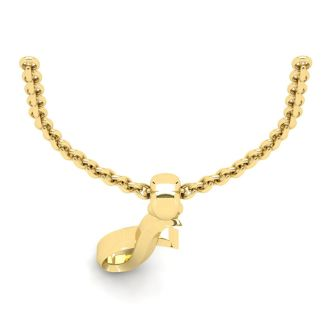 Letter I Swirly Initial Necklace In Heavy 14K Yellow Gold With Free 18 Inch Cable Chain