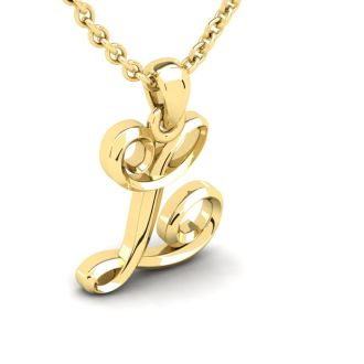 Letter L Swirly Initial Necklace In Heavy 14K Yellow Gold With Free 18 Inch Cable Chain