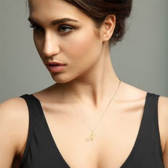 Letter N Swirly Initial Necklace In Heavy 14K Yellow Gold With Free 18 Inch Cable Chain