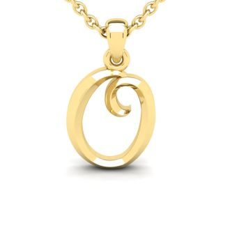 O Swirly Initial Necklace In Heavy 14K Yellow Gold With Free 18 Inch Cable Chain