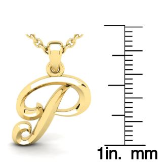 P Swirly Initial Necklace In Heavy 14K Yellow Gold With Free 18 Inch Cable Chain