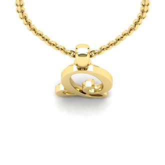 Letter Q Swirly Initial Necklace In Heavy 14K Yellow Gold With Free 18 Inch Cable Chain