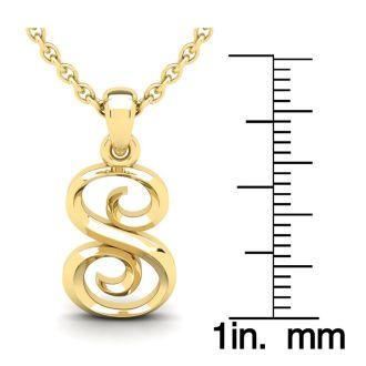 Letter S Swirly Initial Necklace In Heavy 14K Yellow Gold With Free 18 Inch Cable Chain