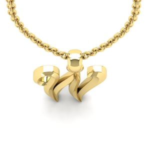 Letter W Swirly Initial Necklace In Heavy 14K Yellow Gold With Free 18 Inch Cable Chain