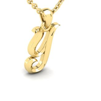 Y Swirly Initial Necklace In Heavy 14K Yellow Gold With Free 18 Inch Cable Chain