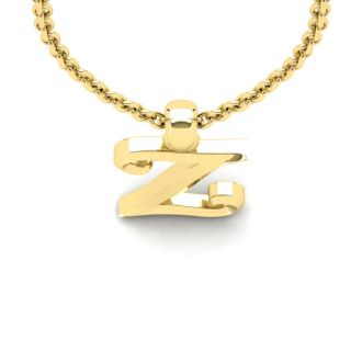 Letter Z Swirly Initial Necklace In Heavy 14K Yellow Gold With Free 18 Inch Cable Chain