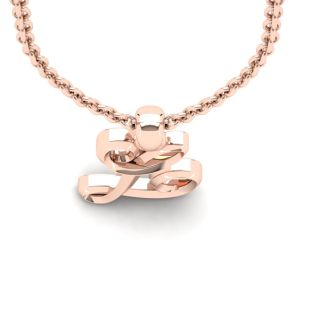 Letter L Swirly Initial Necklace In Heavy 14K Rose Gold With Free 18 Inch Cable Chain