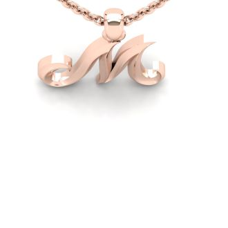 M Swirly Initial Necklace In Heavy 14K Rose Gold With Free 18 Inch Cable Chain