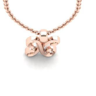 Letter X Swirly Initial Necklace In Heavy 14K Rose Gold With Free 18 Inch Cable Chain
