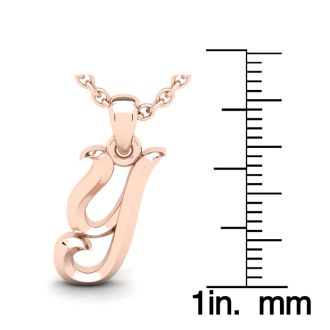 Y Swirly Initial Necklace In Heavy 14K Rose Gold With Free 18 Inch Cable Chain