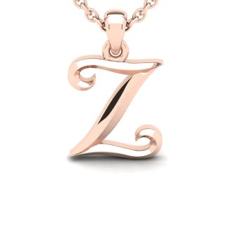 Z Swirly Initial Necklace In Heavy 14K Rose Gold With Free 18 Inch Cable Chain