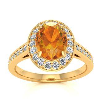 1 1/3 Carat Oval Shape Citrine and Halo Diamond Ring In 14 Karat Yellow Gold