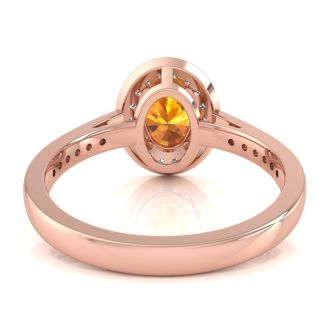 1 1/3 Carat Oval Shape Citrine and Halo Diamond Ring In 14 Karat Rose Gold