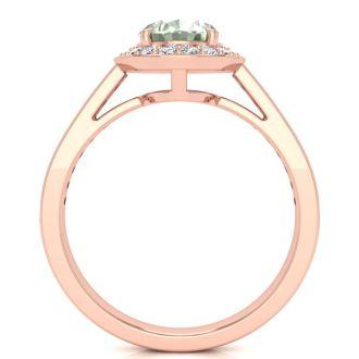 1 1/3 Carat Oval Shape Green Amethyst and Halo Diamond Ring In 14 Karat Rose Gold