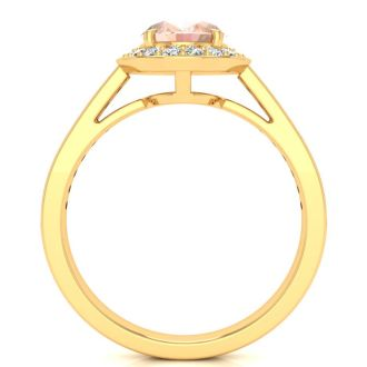 1 1/2 Carat Oval Shape Morganite and Halo Diamond Ring In 14 Karat Yellow Gold