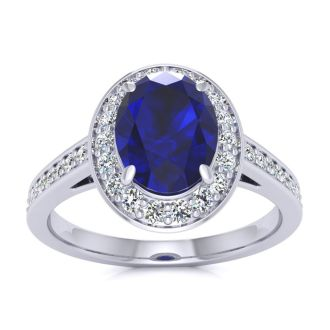 1 3/4 Carat Oval Shape Sapphire and Halo Diamond Ring In 14 Karat White Gold