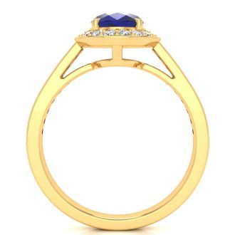 1 3/4 Carat Oval Shape Sapphire and Halo Diamond Ring In 14 Karat Yellow Gold