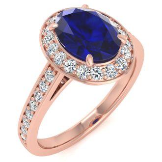 1 3/4 Carat Oval Shape Sapphire and Halo Diamond Ring In 14 Karat Rose Gold