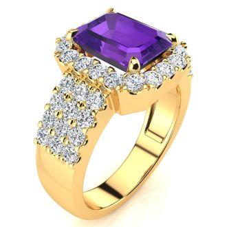 3 Carat Amethyst and Halo Diamond Ring In 14 Karat Yellow Gold