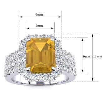 3 Carat Citrine and Halo Diamond Ring In 14 Karat White Gold