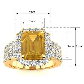 3 Carat Citrine and Halo Diamond Ring In 14 Karat Yellow Gold